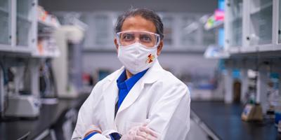 Balaji Narasimhan stands in the Nanovaccine Institute.